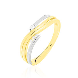 Damenring Gold 585 Bicolor Diamanten 0,08ct - Black Friday Damen | Oro Vivo