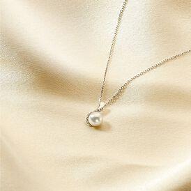 Damen Halskette Weißgold 375 Zuchtperle Zirkonia - Ketten mit Anhänger Damen | Oro Vivo