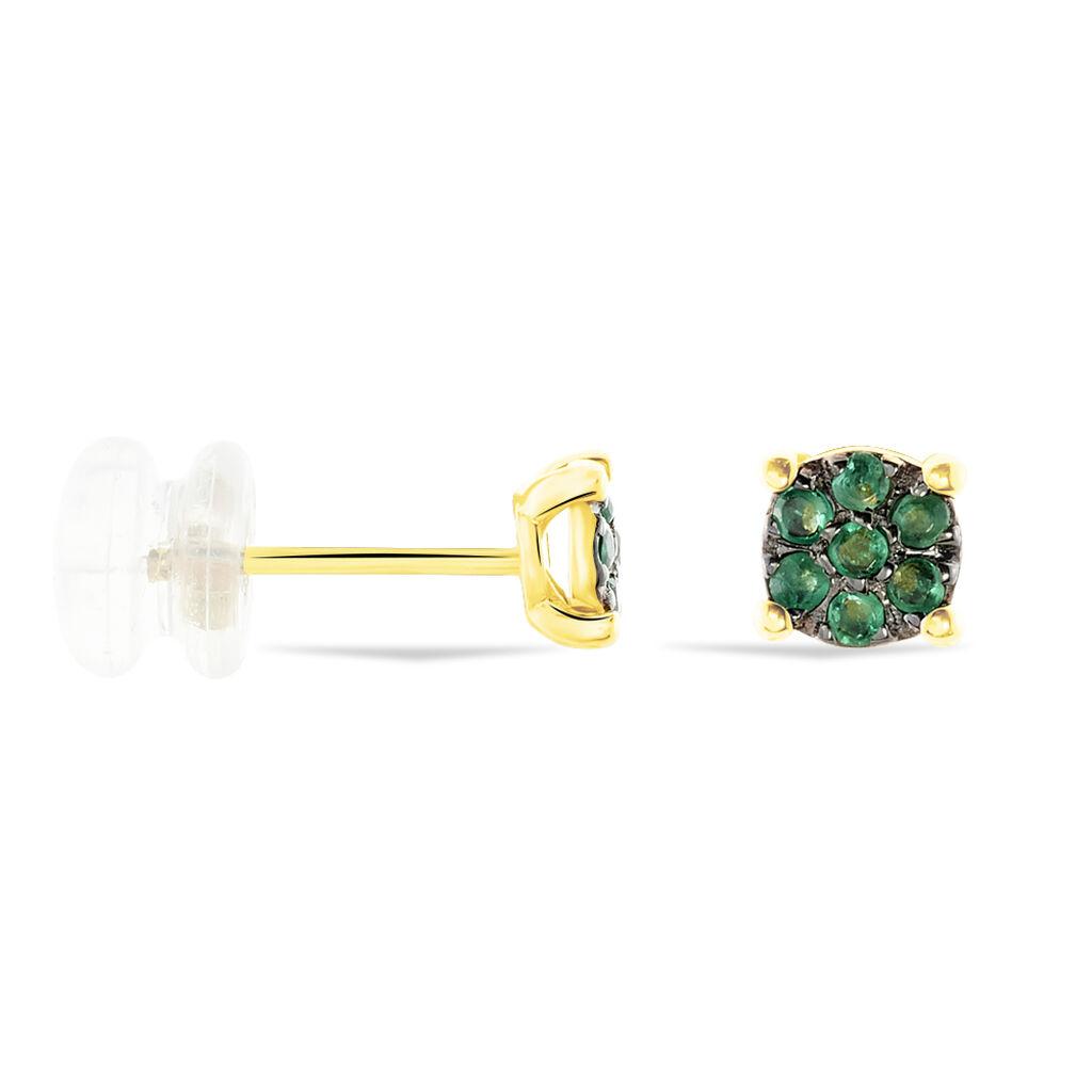 Damen Ohrstecker Gold 375 Smaragd  - Ohrstecker Damen   Oro Vivo