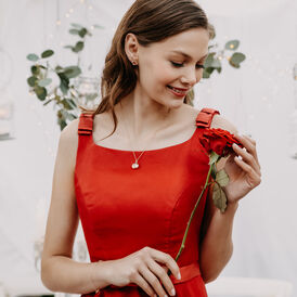 Damen Halskette Silber 925 Rosé Vergoldet Herz - Herzketten Familie   Oro Vivo
