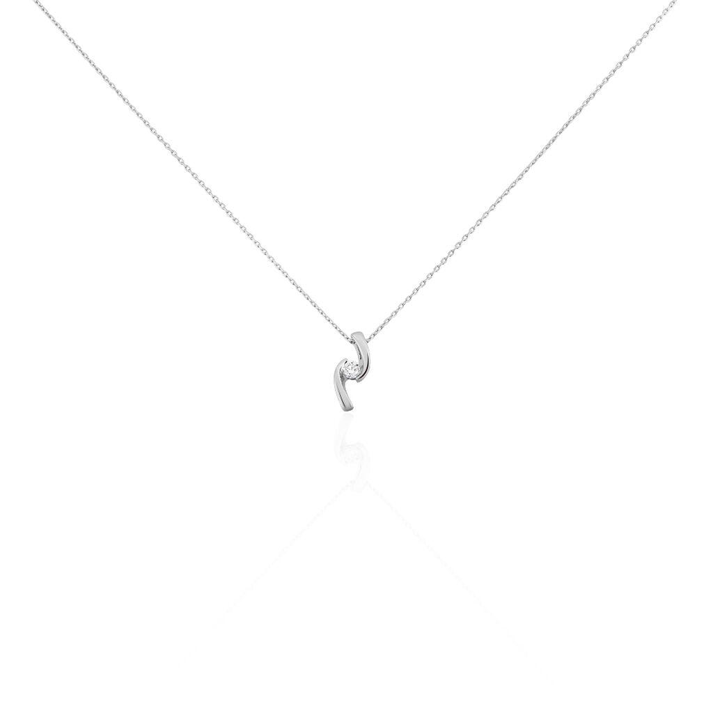Damen Halskette Weißgold 375 Diamant 0,1ct - Ketten mit Anhänger Damen | Oro Vivo