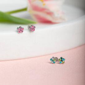 Kinder Ohrstecker Silber 925 Rosé Glas Blume - Ohrstecker Kinder | Oro Vivo