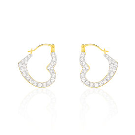 Damen Creolen Gold 375 Kristalle Herz - Creolen Damen | Oro Vivo
