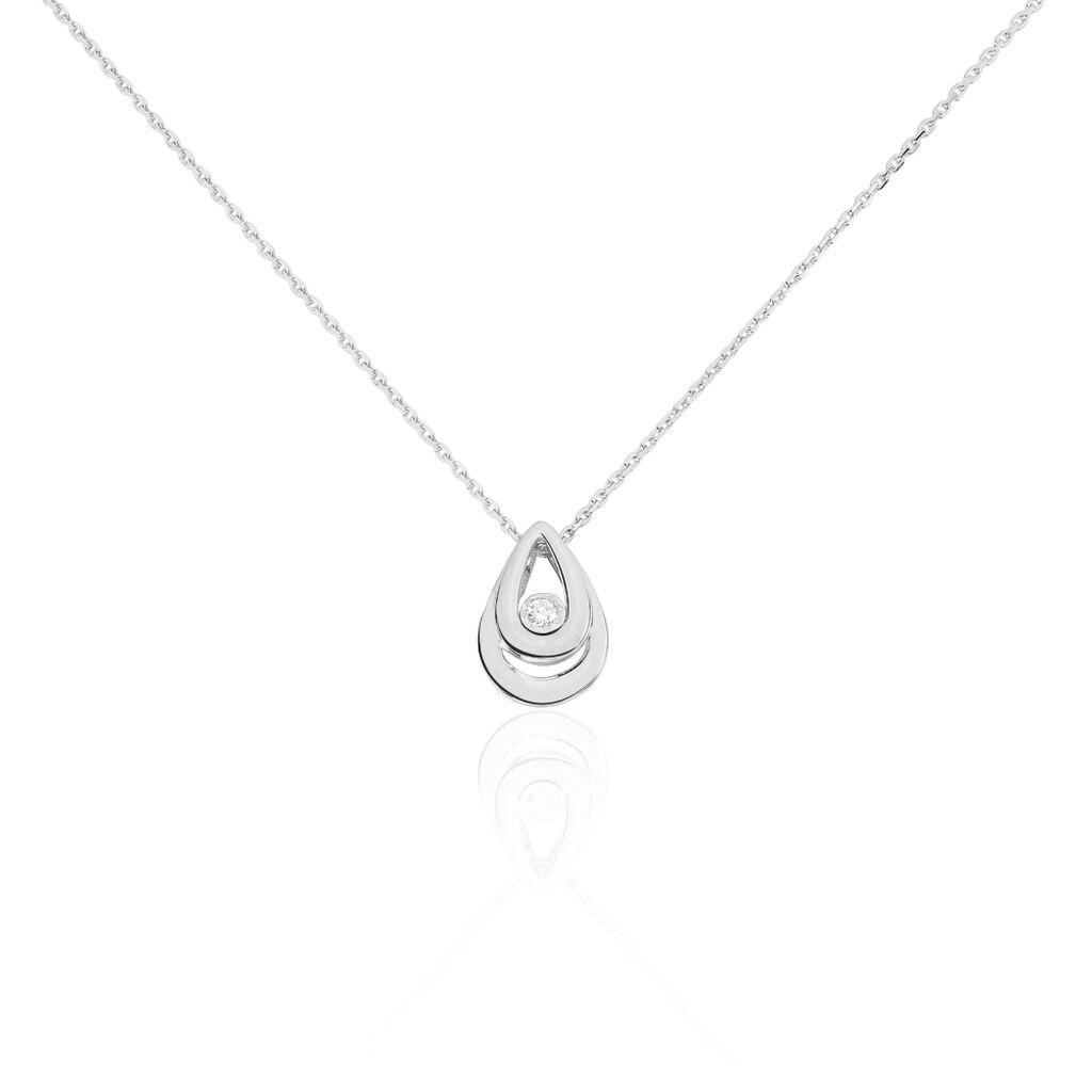Damen Halskette Weißgold 375 Diamant 0,03ct - Ketten mit Anhänger Damen | Oro Vivo