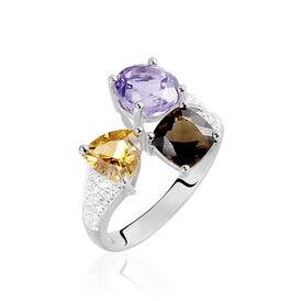 Damenring Weißgold 375 Amethyst Rauchquarz Citrin - Ringe mit Stein Damen   Oro Vivo