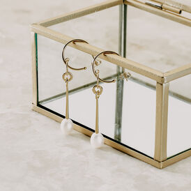 Damen Ohrstecker Lang Silber 925 Vergoldet - Creolen  | Oro Vivo