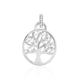 Anhänger Silber 925 Zirkonia Lebensbaum - Schmuckanhänger Damen   Oro Vivo