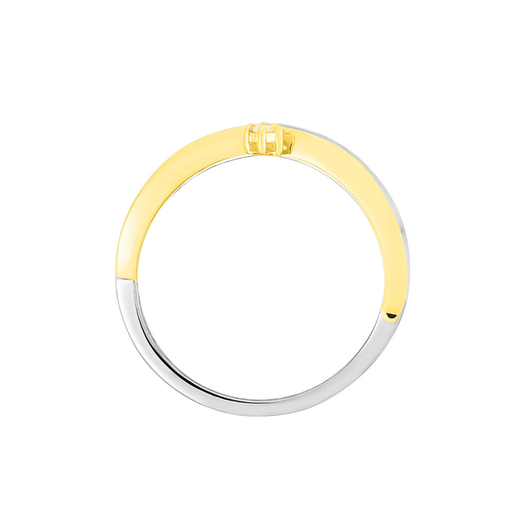 Damenring Gold 375 Bicolor Diamant 0,05ct - Ringe mit Edelsteinen Damen | Oro Vivo