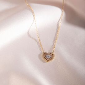 Damen Halskette Gold 375 Tricolor Zirkonia Herz - Herzketten Damen   Oro Vivo