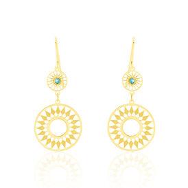 Damen Ohrhänger Lang Gold 375 Türkiser Zirkonia  -  Damen | Oro Vivo