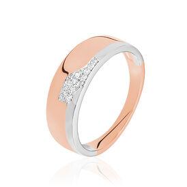 Damenring Gold 375 Bicolor Diamant 0,04ct - Ringe mit Edelsteinen Damen | Oro Vivo