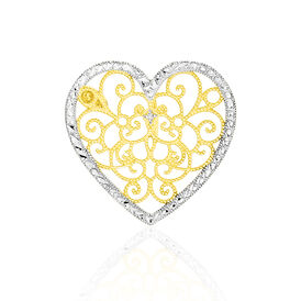 Anhänger Gold 375 Bicolor Diamant 0,005ct Herz - Herzanhänger Damen | Oro Vivo