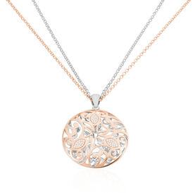 Damen Halskette Silber 925 Rosé Vergoldet Zirkonia - Ketten mit Anhänger  | Oro Vivo