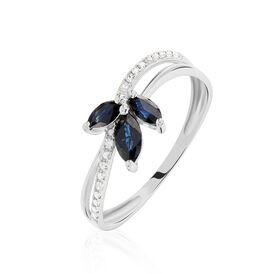 Damenring Weißgold 375 Saphir Diamanten - Ringe mit Edelsteinen  | Oro Vivo