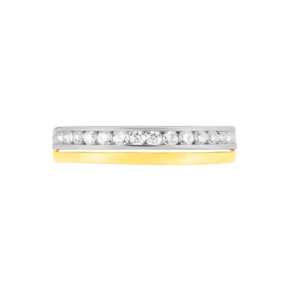 Damenring Gold 375 Bicolor Zirkonia  - Eheringe Damen | Oro Vivo