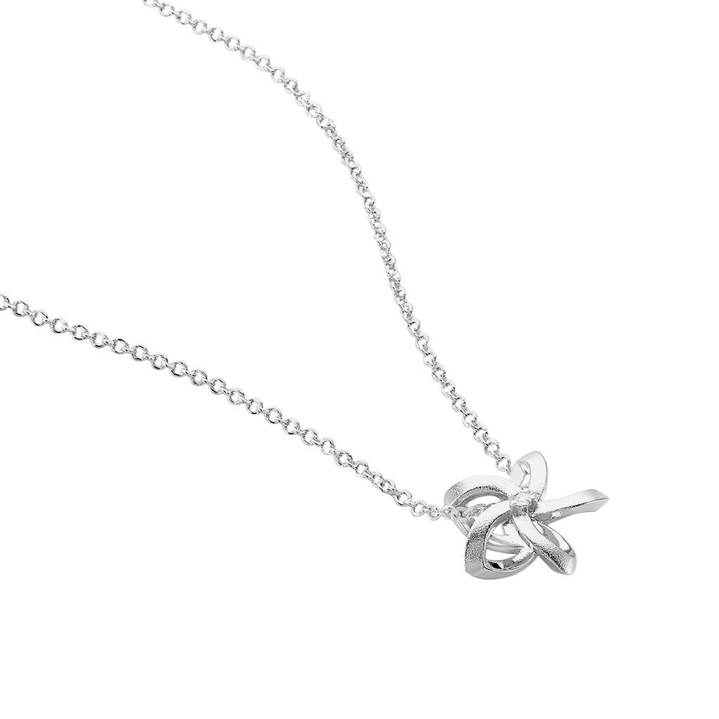 Damen Halskette Silber 925 Diamant 0,011ct - Ketten mit Anhänger Damen   Oro Vivo