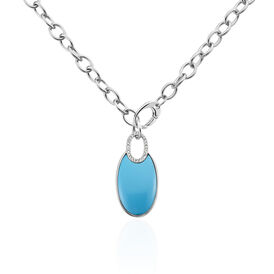 Damen Halskette Edelstahl Achat Türkis -  Damen | Oro Vivo