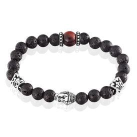Herren Kugelarmband Edelstahl Lavastein Buddha - Armbänder Herren | Oro Vivo