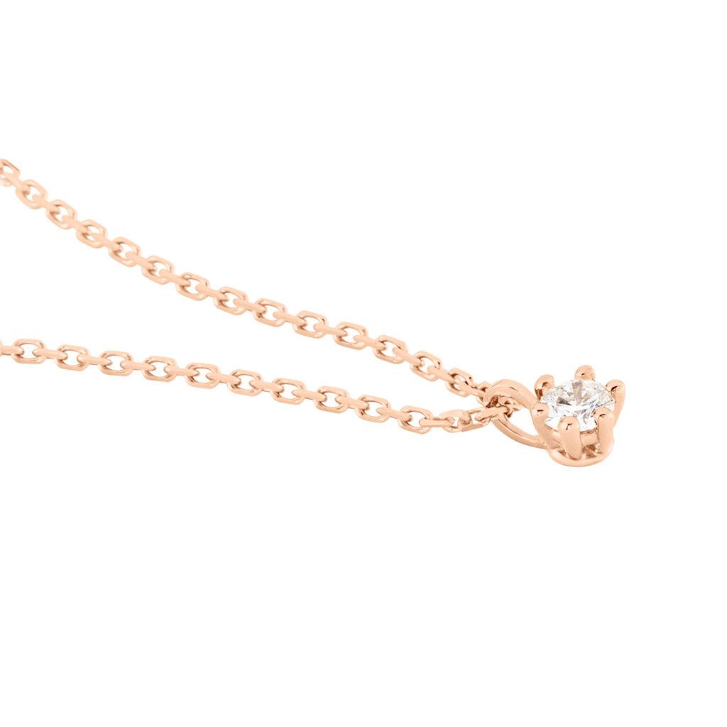Damen Halskette Gold 375 Vergoldet Diamant 0,07ct - Ketten mit Anhänger Damen | Oro Vivo