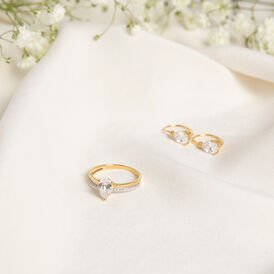 Damenring Gold 375 Bicolor Zirkonia - Ringe mit Stein  | Oro Vivo