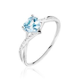 Damenring Weißgold 375 Topas Herz Diamanten - Farbsteinringe Damen | Oro Vivo