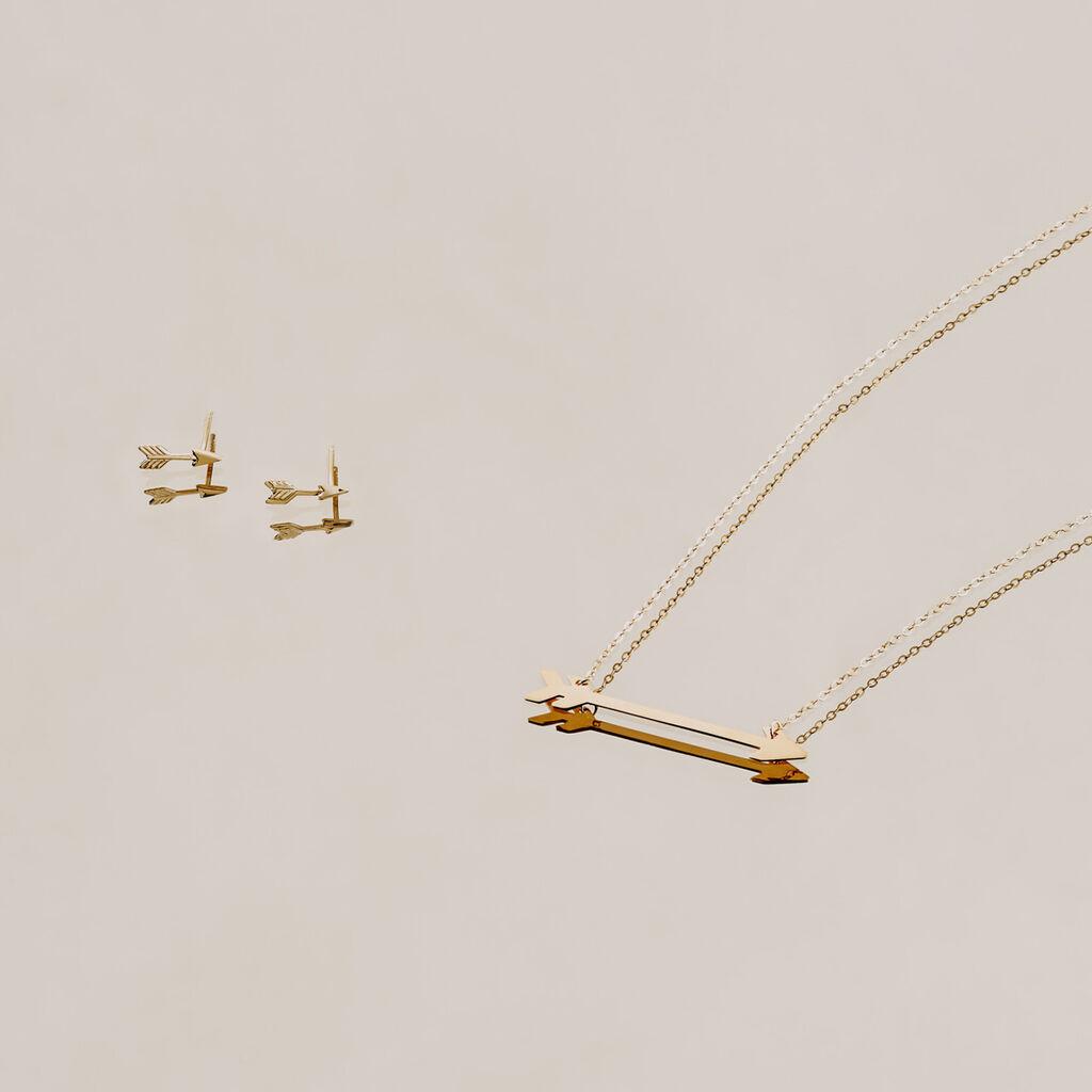 Damen Halskette Gold 375 Pfeil - Ketten mit Anhänger Damen | Oro Vivo