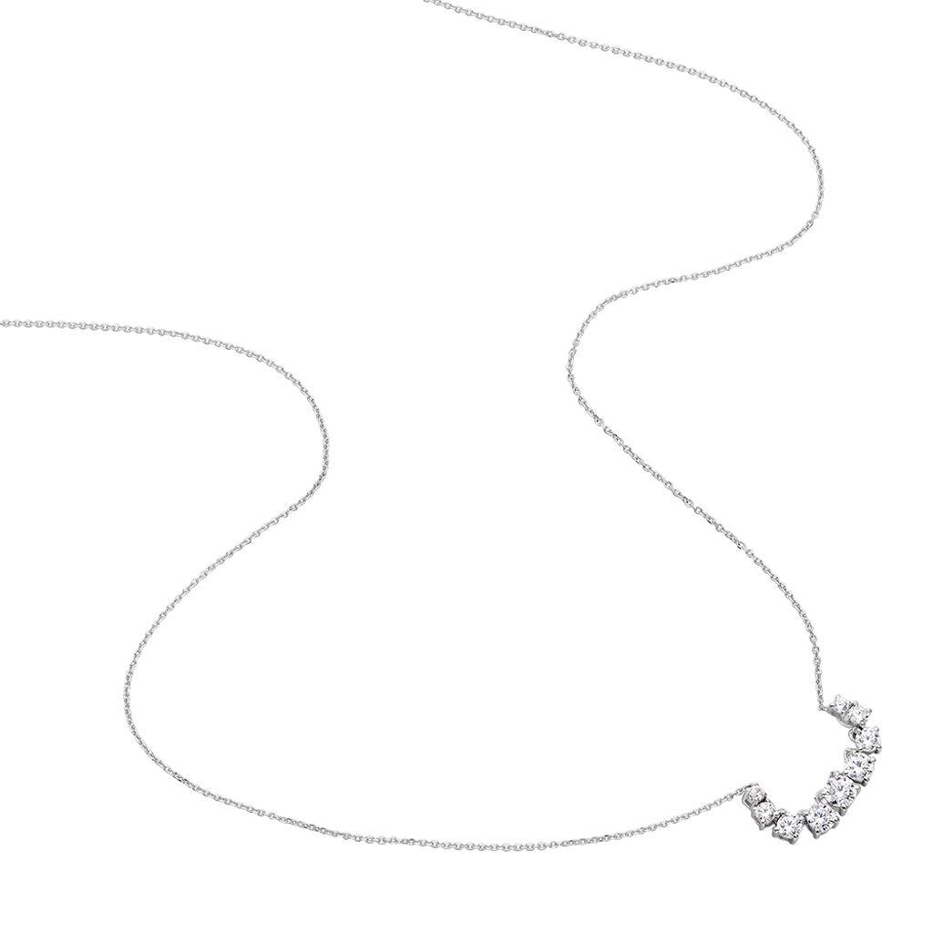 Damen Halskette Weißgold 375 Zirkonia - Ketten mit Anhänger Damen | Oro Vivo