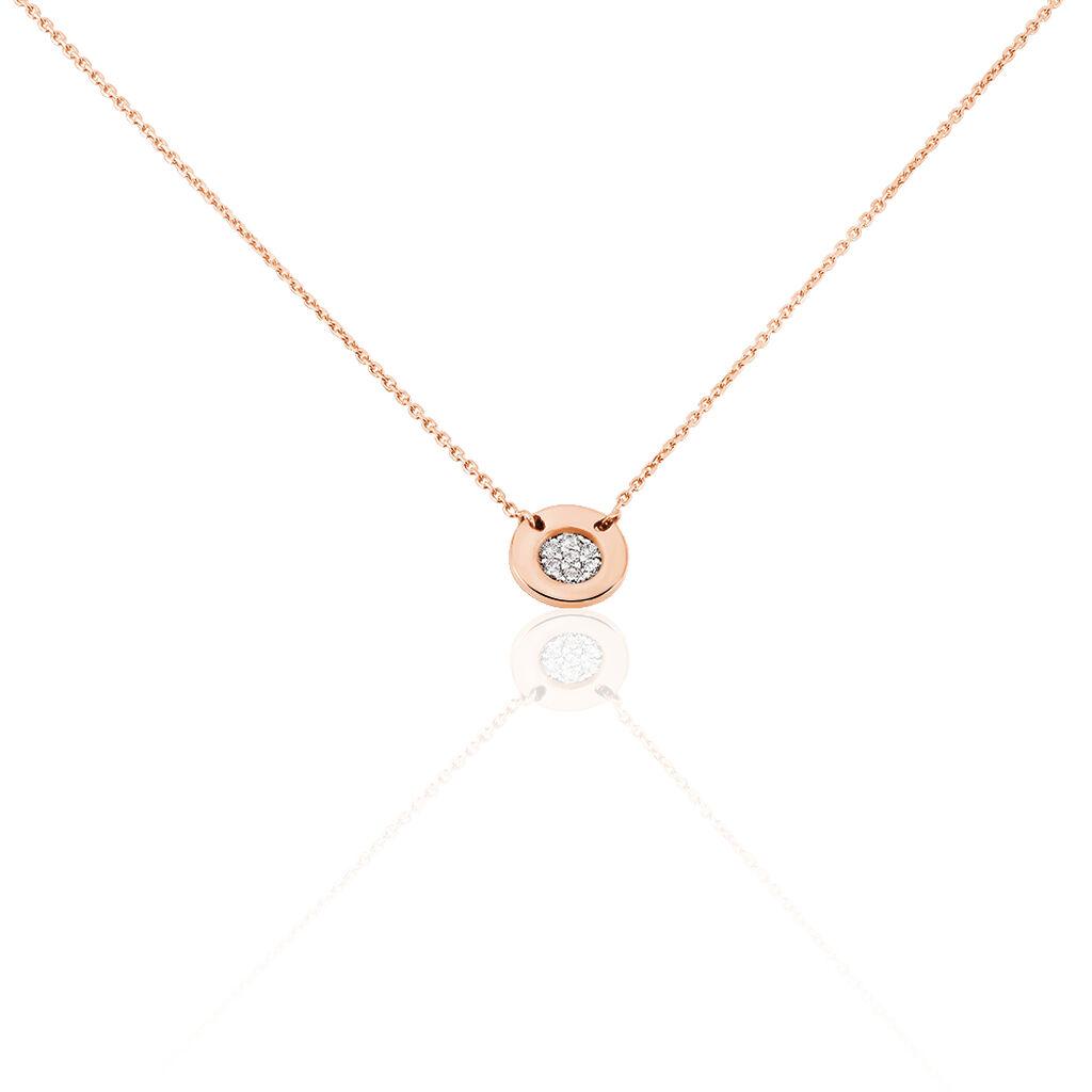 Damen Halskette Gold 375 Rosé Vergoldet Zirkonia - Ketten mit Anhänger Damen | Oro Vivo