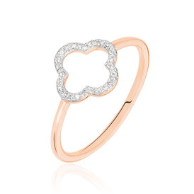 Damenring Roségold 375 Diamanten 0,07ct Blume -  Damen | Oro Vivo