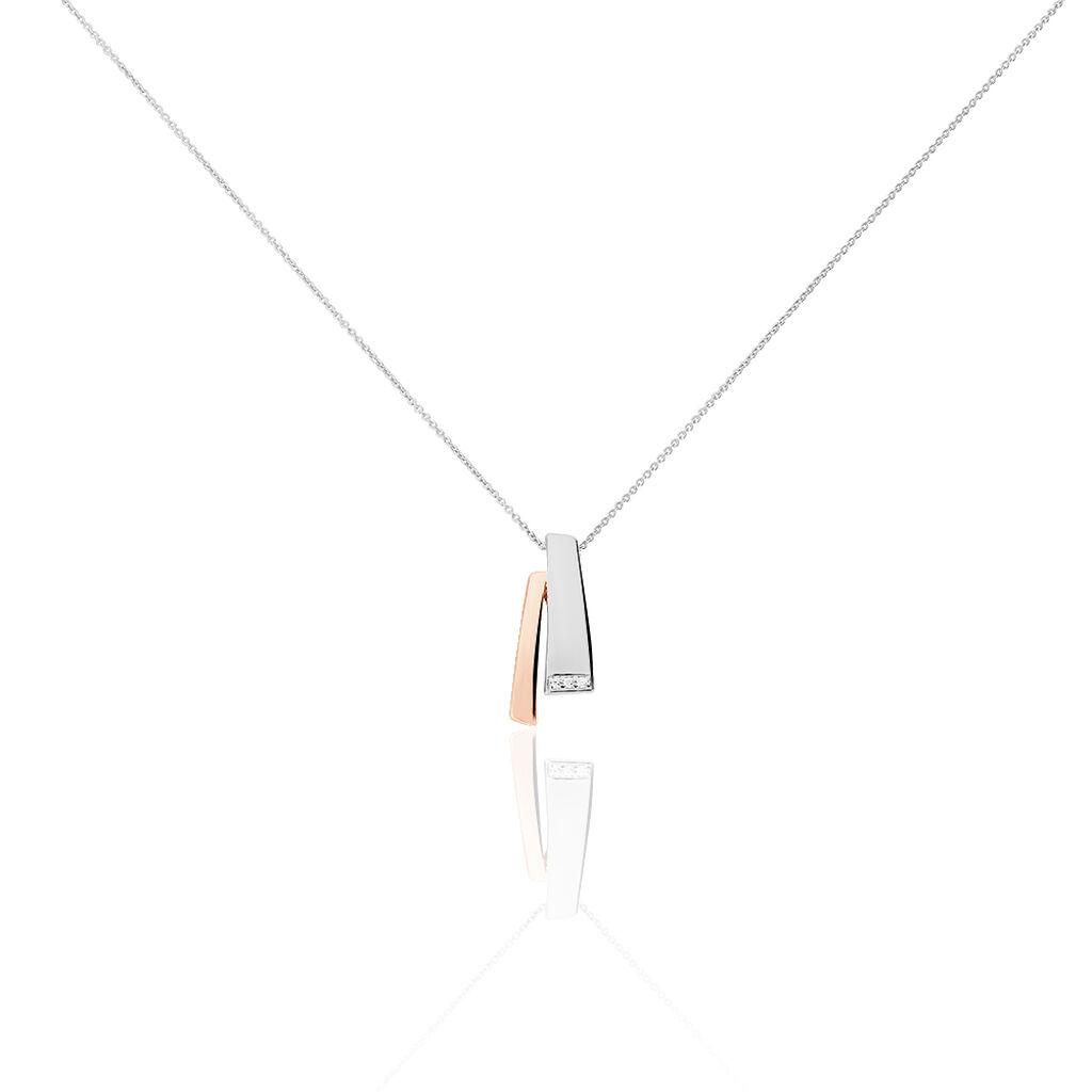 Damen Halskette Silber 925 Rosé Vergoldet Diamant  - Ketten mit Anhänger Damen   Oro Vivo