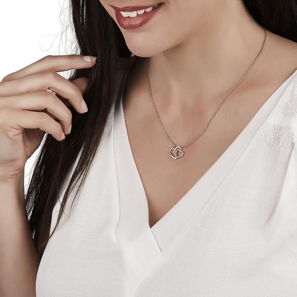 Damen Halskette Vergoldet Zirkonia Herz - Herzketten Damen   Oro Vivo