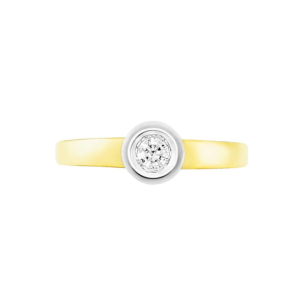 Solitärring Gold 585 Bicolor Diamant 0,1ct - Ringe mit Edelsteinen Damen   Oro Vivo