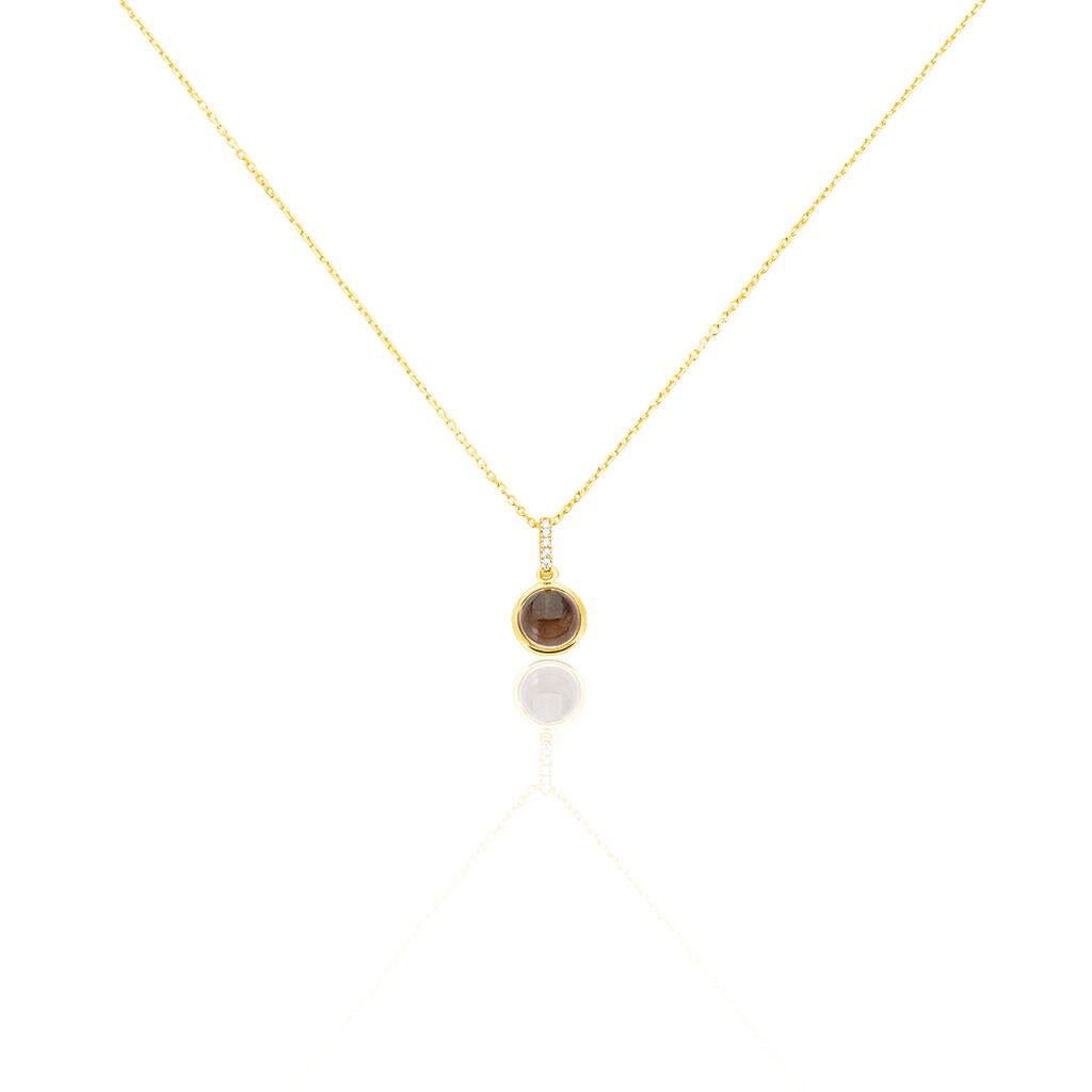 Damen Halskette Gold 375 Quarz Zirkonia 45cm - Ketten mit Anhänger Damen | Oro Vivo