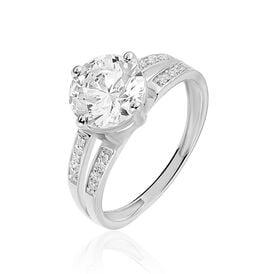 Damenring Weißgold 375 Zirkonia - Ringe mit Stein Damen | Oro Vivo