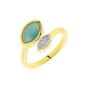 Damenring Silber 925 Vergoldet  - Ringe mit Stein Damen   Oro Vivo