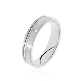 Unisex Ehering Silber 925 Zirkonia - Eheringe Damen   Oro Vivo