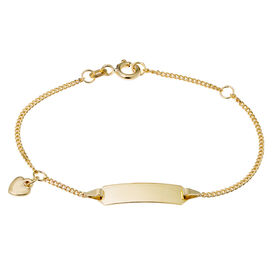 Kinder Id Armband Panzerkette Gold 585 Herz - ID-Armbänder Kinder | Oro Vivo