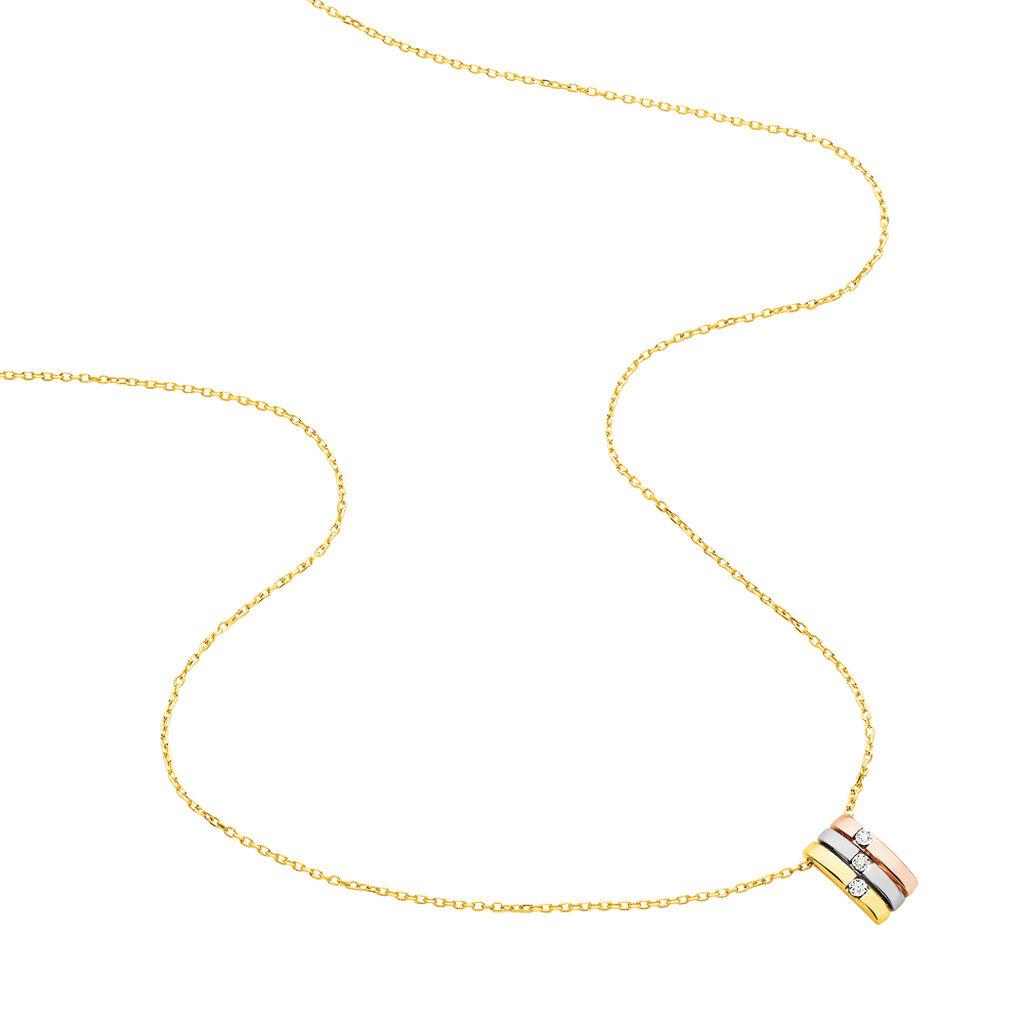 Damen Halskette Gold 375 Tricolor Diamanten 0,03ct - Ketten mit Anhänger Damen | Oro Vivo