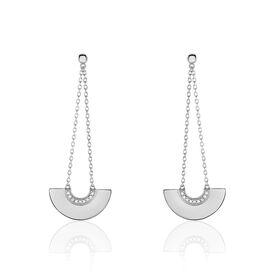Damen Ohrstecker Lang Silber 925 Zirkonia -  Damen | Oro Vivo