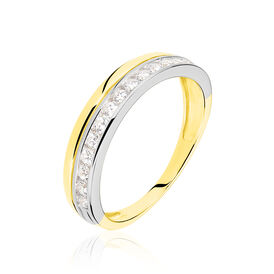 Damenring Gold 375 Bicolor Zirkonia  -  Damen | Oro Vivo