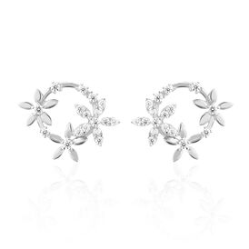 Damen Ohrstecker Silber 925 Zirkonia Blume Kreis - Kategorie Damen | Oro Vivo