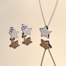 Damen Halskette Silber 925 Zirkonia Stern - Ketten mit Anhänger Damen   Oro Vivo