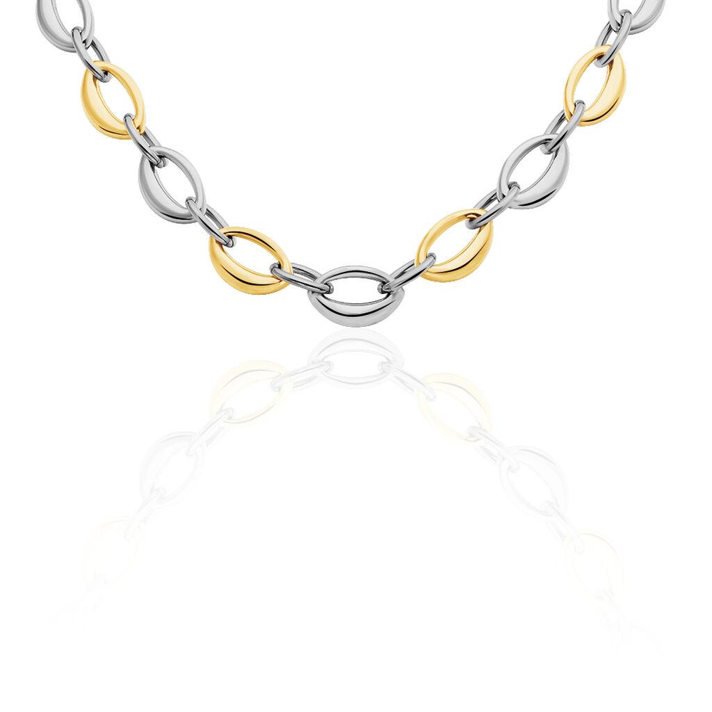 Damen Collier Edelstahl Bicolor  - Ketten ohne Stein Damen   Oro Vivo