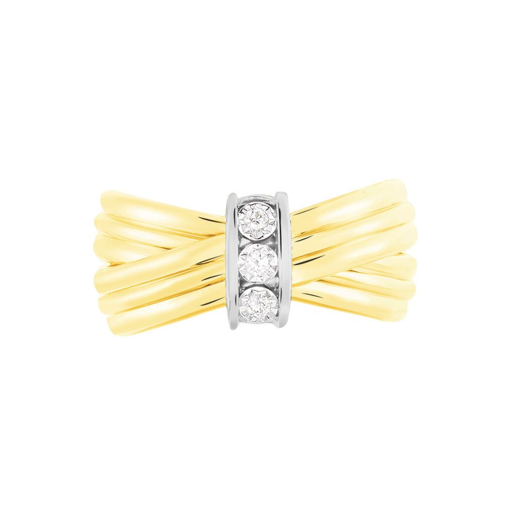 Damenring Gold 375 Bicolor Diamant 0,045ct - Ringe mit Edelsteinen Damen | Oro Vivo
