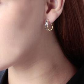 Damen Creolen Gold 375 Bicolor Facettiert  - Creolen Damen   Oro Vivo