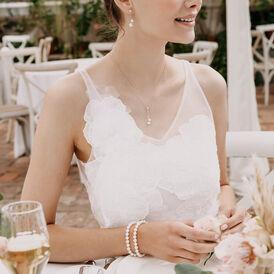 Damen Halskette Weißgold 375 Zuchtperle Diamanten - Ketten mit Anhänger Damen   Oro Vivo