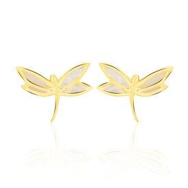 Damen Ohrstecker Gold 375 Perlmutt Libelle - Ohrstecker Damen   Oro Vivo