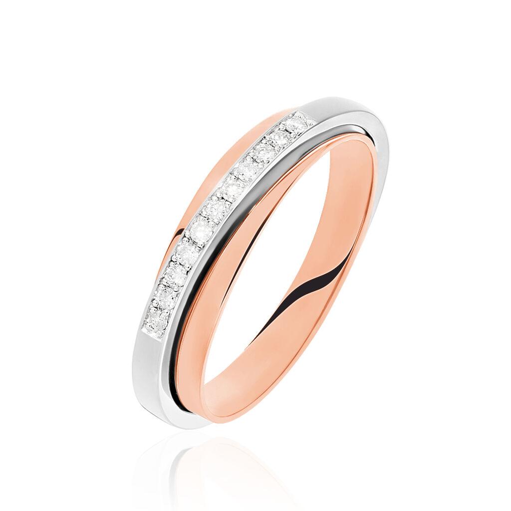 Damenring Gold 585 Bicolor Diamanten 0,13ct - Eheringe Damen   Oro Vivo