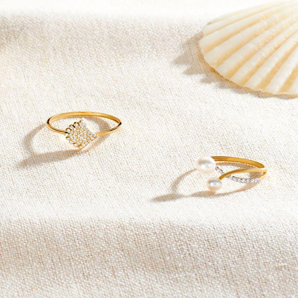 Damenring Gold 375 Zirkonia Muschel - Ringe mit Stein Damen   Oro Vivo