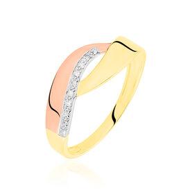Damenring Gold 375 Tricolor Diamant 0,018ct - Black Friday Damen | Oro Vivo